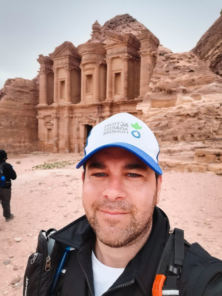 Our Executive Chef Fran Martínez at the doors of the monastery of Petra